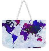 World Map - Purple Flip The Light Of Day - Abstract - Digital Painting 2 Weekender Tote Bag by Andee Design