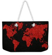World Map Red Fabric On Dark Leather Weekender Tote Bag