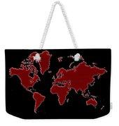 World Map Red Grid Weekender Tote Bag