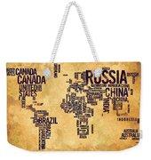 World Map Typography 6 Watercolor Painting Weekender Tote Bag