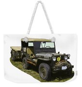 World War Two Army Jeep With Trailer  Weekender Tote Bag