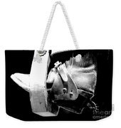 Worn Western Leather Boot With Spur In Stirrup Conte Crayon Black And White Digital Art Weekender Tote Bag by Shawn O'Brien