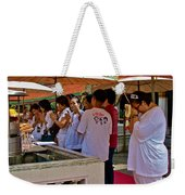 Worshippers In Front Of The Royal Temple  At Grand Palace Of Tha Weekender Tote Bag