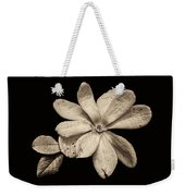 Wounded White Magnolia Wide Version Sepia Weekender Tote Bag