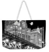 Wrigley Building At Night In Black And White Weekender Tote Bag