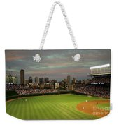 Wrigley Field At Dusk Weekender Tote Bag by John Gaffen