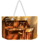 Writer - A Chair And A Desk Weekender Tote Bag by Mike Savad