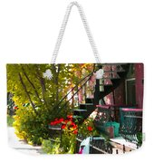 Wrought Iron Fence Balcony And Staircases Verdun Stairs Summer Scenes Carole Spandau  Weekender Tote Bag
