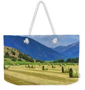 Wyoming Mountain Hay Farm Weekender Tote Bag