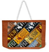 Wyoming State License Plate Map Weekender Tote Bag by Design Turnpike