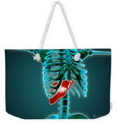 X-ray View Of Human Skeleton With Liver Weekender Tote Bag