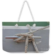 Yacht Secured To A Jetty  Weekender Tote Bag