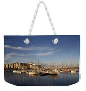Yachts In A Marina At Sunset Weekender Tote Bag