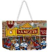 Yangtze Restaurant With Van Horne Bagel And Hockey Weekender Tote Bag by Carole Spandau