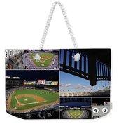 Yankee Stadium Collage Weekender Tote Bag by Allen Beatty