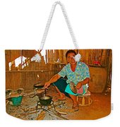 Yao Mien Tribe Man In His Home With His Cooking Pot North Of Chiang Rai In Mae Salong-thailand  Weekender Tote Bag