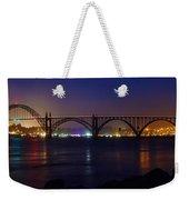 Yaquina Bay Bridge At Night Weekender Tote Bag