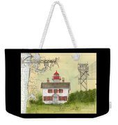 Yaquina Bay Lighthouse Or Nautical Chart Map Art Weekender Tote Bag