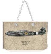 Yellow 10 Focke-wulf Fw190d - Map Background Weekender Tote Bag
