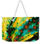 Yellow Abstract Weekender Tote Bag by Sharon Cummings