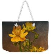Yellow Aged Floral Weekender Tote Bag