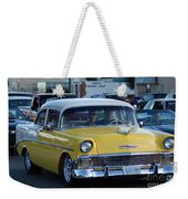 Yellow And White Classic Chevy Weekender Tote Bag