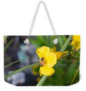 Yellow Bell Flower With Honeybee Weekender Tote Bag