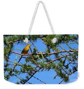 Yellow Bird In A Juniper Tree Weekender Tote Bag