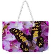 Yellow Black Butterfly On Hydrangea Weekender Tote Bag