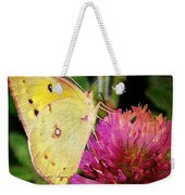 Yellow Butterfly On Pink Clover Weekender Tote Bag