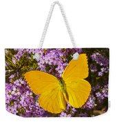 Yellow Butterfly On Pink Flowers Weekender Tote Bag