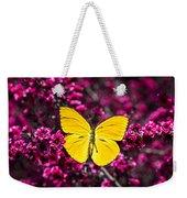 Yellow Butterfly On Red Flowering Bush Weekender Tote Bag