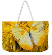 Yellow Butterfly On Yellow Mums Weekender Tote Bag