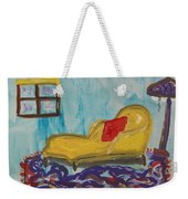 Yellow Chaise-red Pillow Weekender Tote Bag