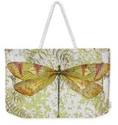 Yellow Dragonfly On Vintage Tin Weekender Tote Bag