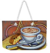 Yellow Dutch Bicycle With Cappuccino And Biscotti Weekender Tote Bag