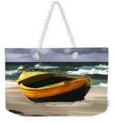 Yellow Fishing Dory Before The Storm Weekender Tote Bag