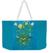 Yellow Floral Enchantment In Turquoise Weekender Tote Bag
