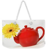 Yellow Flower In A Red Teapot Weekender Tote Bag