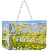 Yellow Flowers And A White Fence Weekender Tote Bag