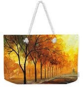 Yellow Fog - Palette Knife Oil Painting On Canvas By Leonid Afremov Weekender Tote Bag