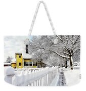 Yellow House With Snow Covered Picket Fence Weekender Tote Bag