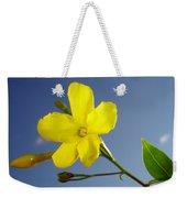 Yellow Jasmine Flower And Bud Against Blue Sky Weekender Tote Bag