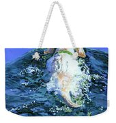 Yellow Lab  Blue Wake Weekender Tote Bag by Molly Poole