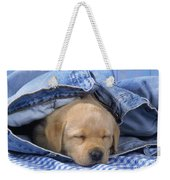 Yellow Labrador Puppy Asleep In Jeans Weekender Tote Bag