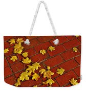 Yellow Leaves On Red Brick Weekender Tote Bag