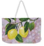 Yellow Lemons On Purple Orchid Weekender Tote Bag by Jen Norton