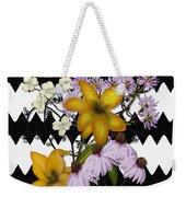 Yellow Lilies On Black And White Zigzag Weekender Tote Bag