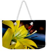 Yellow Lily Anthers Weekender Tote Bag by Robert Bales
