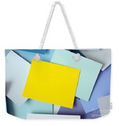Yellow Memo Weekender Tote Bag by Carlos Caetano